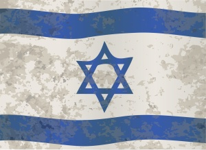 The flag of Israel in blue and white with the star of David